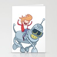 bender Stationery Cards featuring Adventurama/Fry and Bender by Spencer Duffy