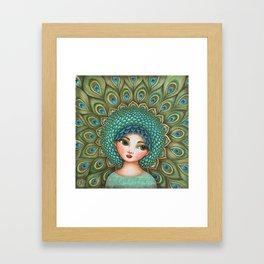 Peacock girl Framed Art Print