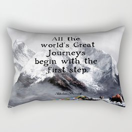 All the world's Great Journeys Motivational Tibetan Proverb With Panoramic View Of Everest Mountain Rectangular Pillow