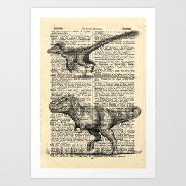 Dictionary Dinosaurs Art Print