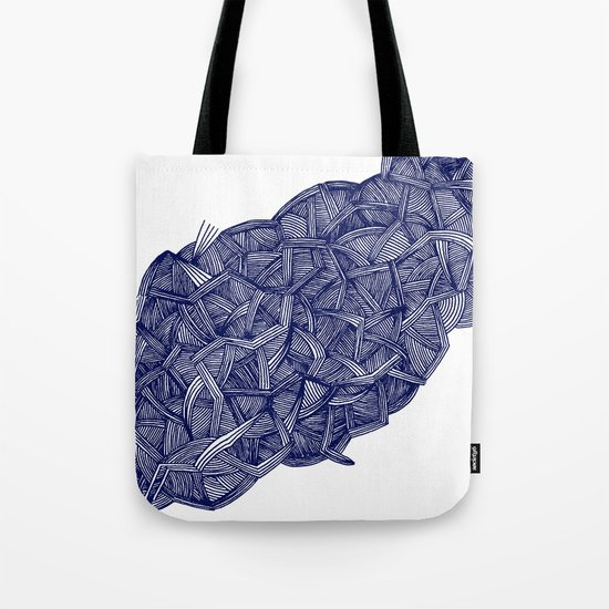 - blue lines - Tote Bag