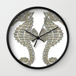 Vintage Tribal Sea Horses Wall Clock