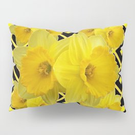 Charcoal Grey Lilac Yellow Daffodils art Pillow Sham