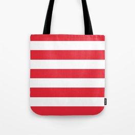 Rose madder - solid color - white stripes pattern Tote Bag