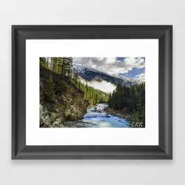 Kicking Horse River with Mount Hunter towering over Framed Art Print