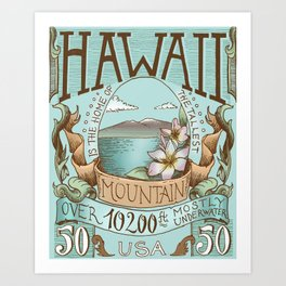 Hawaii Vintage Postage Stamp Art Print
