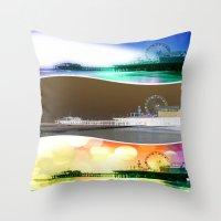 santa monica Throw Pillows featuring Santa Monica Pier Tricolor by Christine aka stine1