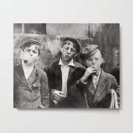 Newsies Boys Smoking Lewis Hine 1910 Metal Print