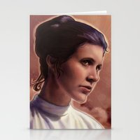 leia Stationery Cards featuring Leia by Jackie Sullivan