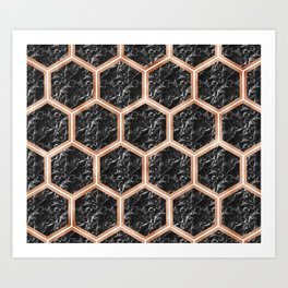 Black campari marble & copper honeycomb Art Print
