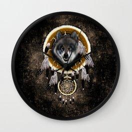 Indian Native Gray Wolf Dreamcatchers Wall Clock