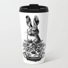 Rabbit in a Teacup | Black and White Metal Travel Mug