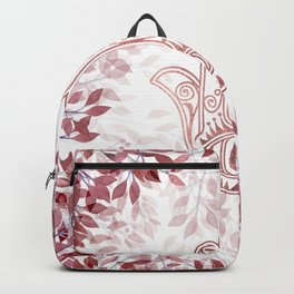 Modern burgundy faux rose gold Hamsa Hand of Fatima floral Backpack