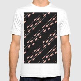 Elegant chic black pink faux glitter arrows feathers T-shirt
