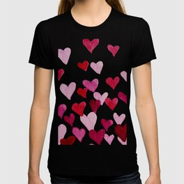 Valentine's Day Watercolor Hearts - pink T-shirt