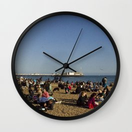 Busy Brighton Beach Wall Clock