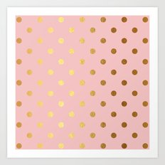Gold polka dots on rosegold backround - Luxury pink pattern Art Print
