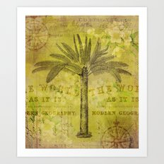 Vintage Journey palmtree typography travel collage Art Print