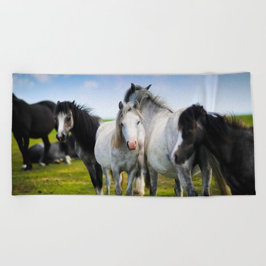 Horses Horses 4 Beach Towel