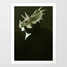 Dinosaur Helmet Art Print