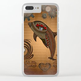 Steampunk, awesome steampunk dolphin Clear iPhone Case