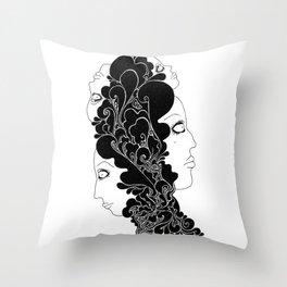 the four faces Throw Pillow