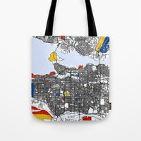 vancouver Tote Bags featuring Vancouver by Mondrian Maps