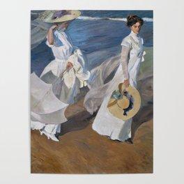 Joaquin Sorolla Y Bastida - Strolling along the seashore Poster