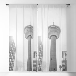 The tower in monochrome Blackout Curtain