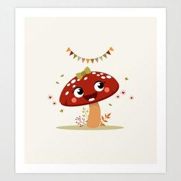 Champignon rouge Art Print