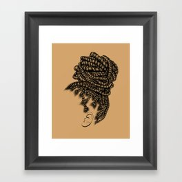 Crown: Box Braid Bun Framed Art Print