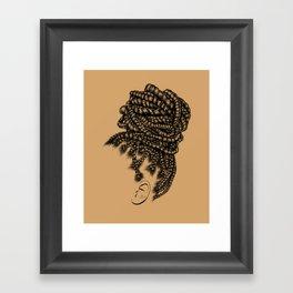 Crown: Box Braid Bun Framed Art Print