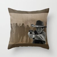 carl sagan Throw Pillows featuring Carl by Richtoon