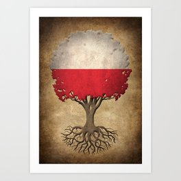 Vintage Tree of Life with Flag of Poland Art Print