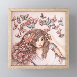 Paper Butterflies with girl Framed Mini Art Print