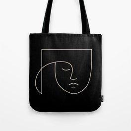 Minimal Line Portrait - Black Tote Bag