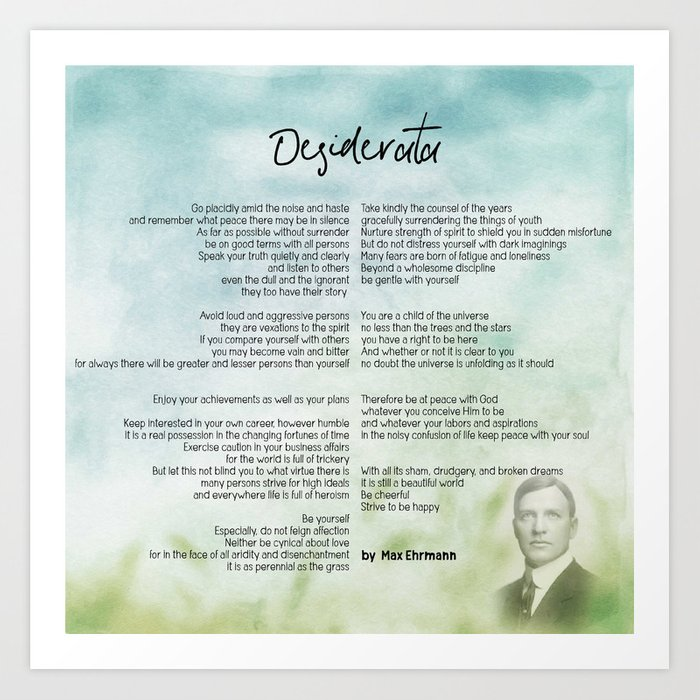 graphic about Desiderata Printable known as Desiderata by way of Max Ehrmann v10 Artwork Print as a result of asarstudios