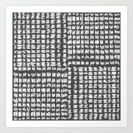 Scribble Checker Pattern Black and White Gray Charcoal Art Print