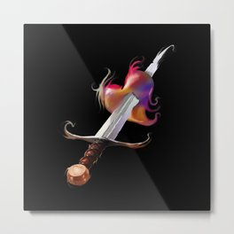 Stabbed colorful heart- Psychedelic- Sword - Broken love - Valentine day Metal Print