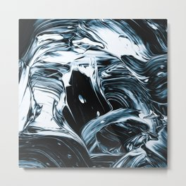 Abstract Chrome Silver Paint IV Metal Print