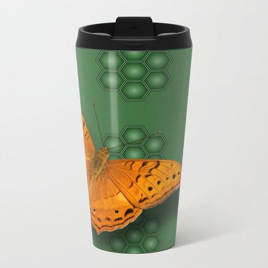 Beautiful orange butterfly on green pattern background Metal Travel Mug