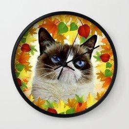 Funny Sad Autumn Cat Wall Clock