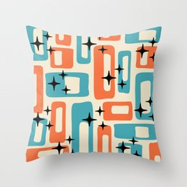Retro Mid Century Modern Abstract Pattern 221 Orange and Blue Throw Pillow