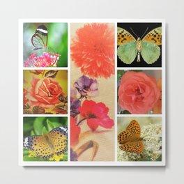 FLOWER AND BUTTERFLIES Metal Print