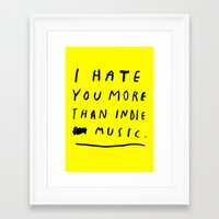 indie Framed Art Prints featuring INDIE MUSIC by WASTED RITA
