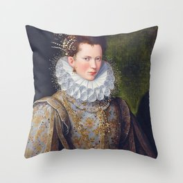 Portrait of Court Lady with Dog Throw Pillow