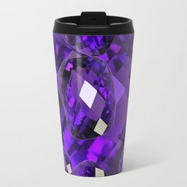 PURPLE AMETHYST FACETED  JEWEL GEMS BIRTHSTONE Travel Mug