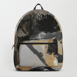 Gold leaf black, geometrical abstract Backpack