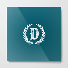 Dark Teal Monogram: Letter D Metal Print