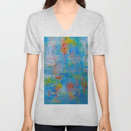 Colorful Abstract Wall Art, Vibrant colors, Contemporary home decor Unisex V-Neck